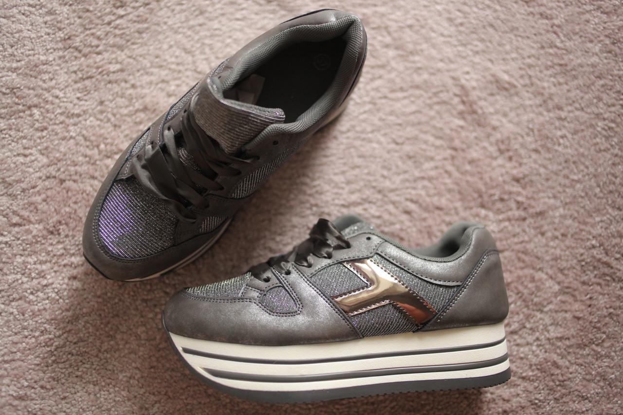 Женские кроссовки серые криперы на подошве слойка 38-41