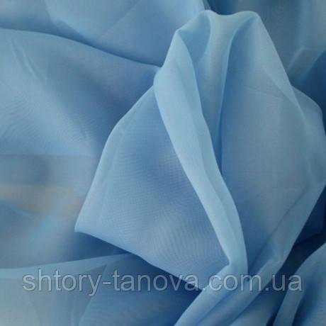 Тюль вуаль однотон. т.голубой