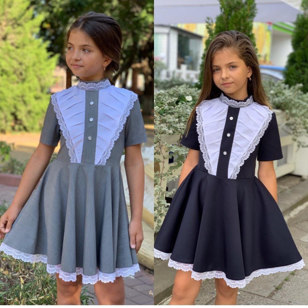 Платье для девочки школьное, красивое, нарядное, отрезное, пышное, впереди вставка, отделка кружево