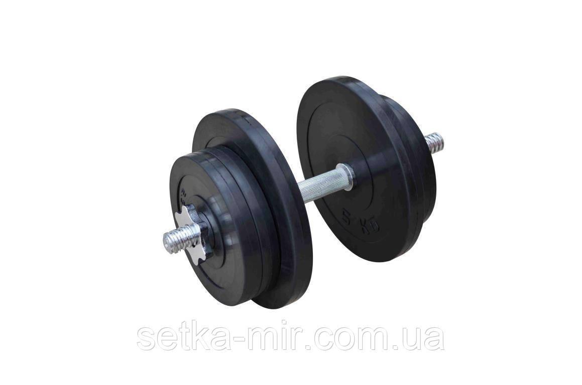 Розбірні обрезинені гантелі - 1 шт., 21 кг