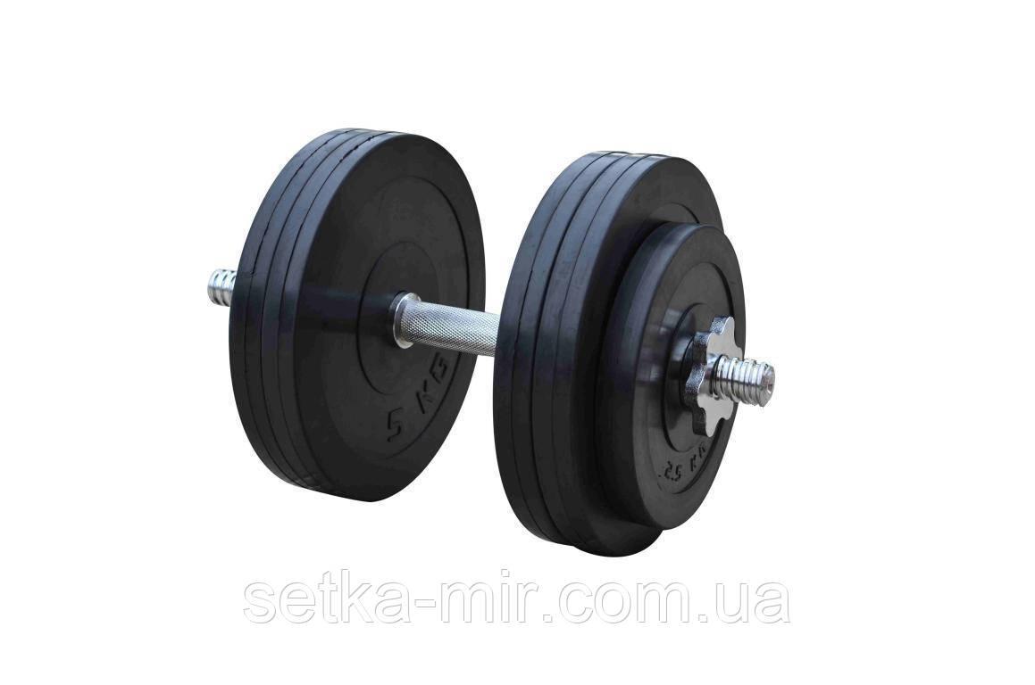 Обрезиненные наборные гантели - 1 шт., 26 кг