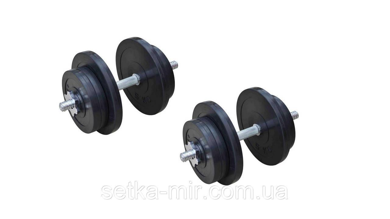 Гантели обрезиненные наборные - 2 шт. по 21 кг