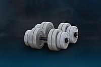 Гантели -2 шт. по 16 кг с противоударным ABS покрытием, серые, фото 1
