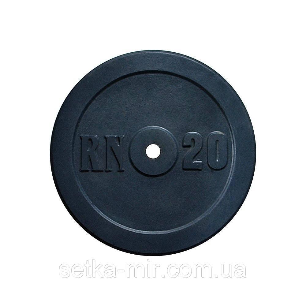 Диск 20 кг на гриф 30 мм (покрыт глянцевой акриловой эмалью)