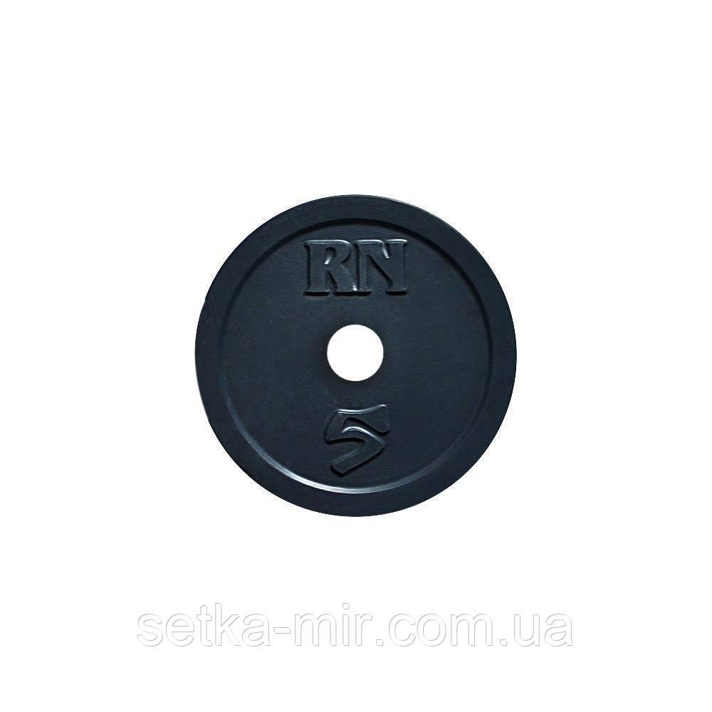 Диск 5 кг на олимпийский гриф 50 мм (покрыт глянцевой акриловой эмалью)