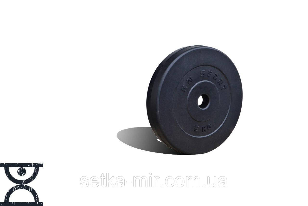 Диск композитный 5 кг - 31 мм (покрыт противоударным пластиком средней жесткости, черный)