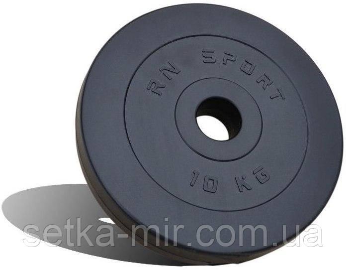 Диск композитный 10 кг - 51 мм (покрыт противоударным пластиком средней жесткости, черный)
