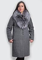 Женское зимнее пальто  с искусственным мехом