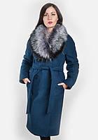 Зимнее женское пальто удлиненное пальто с меховым воротником