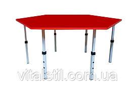 Стол обеденный детский шестигранный регулируемый по высоте (1180*1020)