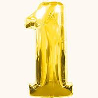 Шар цифра 1. Цвет золото. Размер: 100см. Материал:фольга.