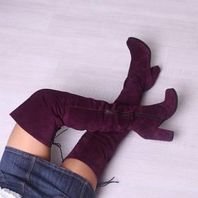 Ботфорты кожаные на высоком каблуке выше колена  размер 35-41