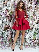 Платье с пышной юбкой из неопрена и гипюровым верхом, 00088 (Бордовый), Размер 42 (S)