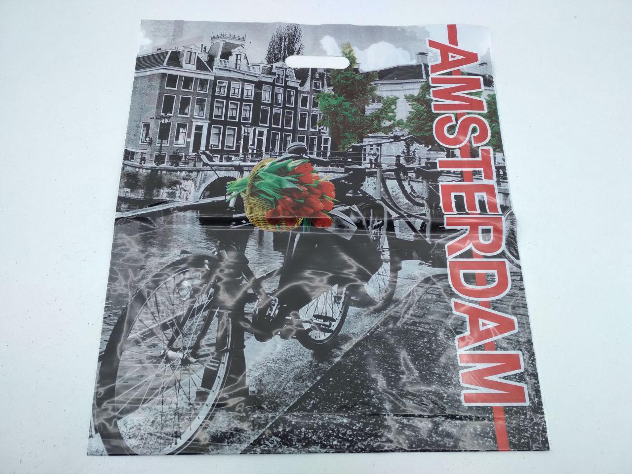 """Пакет с прорезной ручкой (45*53+)""""AMSTERDAM"""" Леоми (50 шт)"""