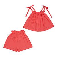 Комплект для дівчинки батистовий, коралового кольору, топ і шорти