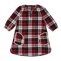 Сукня для дівчинки в червону клітинку, з кишенями