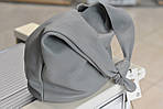 Женская кожаная большая сумка серая 6917