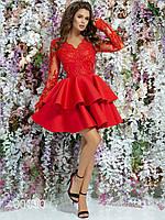 Платье из дорогого гипюра с пышной юбкой тюльпан