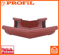 Водосточная пластиковая система PROFIL 90/75 (ПРОФИЛ ВОДОСТОК). Угол произвольный 70°- 170°.кирпичный