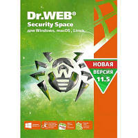 Антивирус Dr. Web Security Space, 2 ПК 1 год карт. конверт (KHW-B-12M-2-A3)
