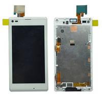 Sony Xperia L S36h white LCD, модуль, дисплей с сенсорным экраном с рамкой в сборе