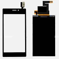 Sony Xperia M2 S50h black LCD, модуль, дисплей с сенсорным экраном с рамкой в сборе