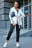 Стильный брючный костюм с жакетом на подкладке 1197 (42–48р) в расцветках, фото 6