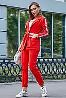 Стильный брючный костюм с жакетом на подкладке 1197 (42–48р) в расцветках, фото 2