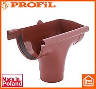 Водосточная пластиковая система PROFIL 90/75 (ПРОФИЛ ВОДОСТОК). Ливнеприемник правый P, кирпичный