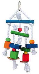 Trixie Игрушка для птиц, дерево, верёвка, 24 см