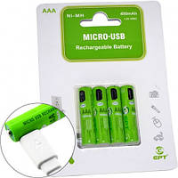 Аккумулятор Soshine AAA/R03  400mAh о встроенным micro USB портом для зарядки (4шт)