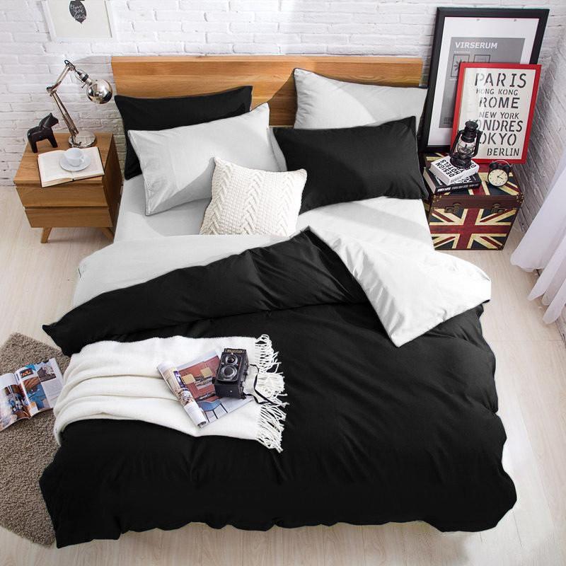 Постельное белье поплин DeLux Микс двусторонний Черный+ Белый ТМ Moonlight Евро-семейный 160х215 2шт