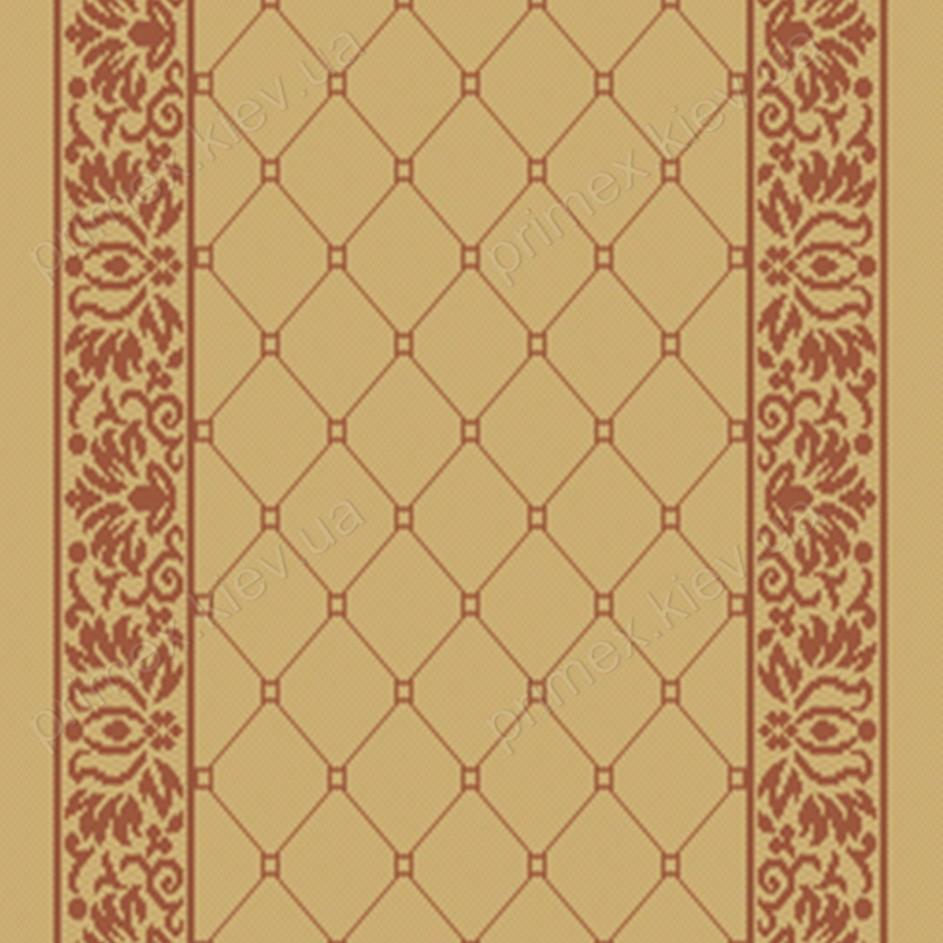 Безворсовая дорожка-рогожка Balta Natura сетка и растительный орнамент бежевый с терракотой