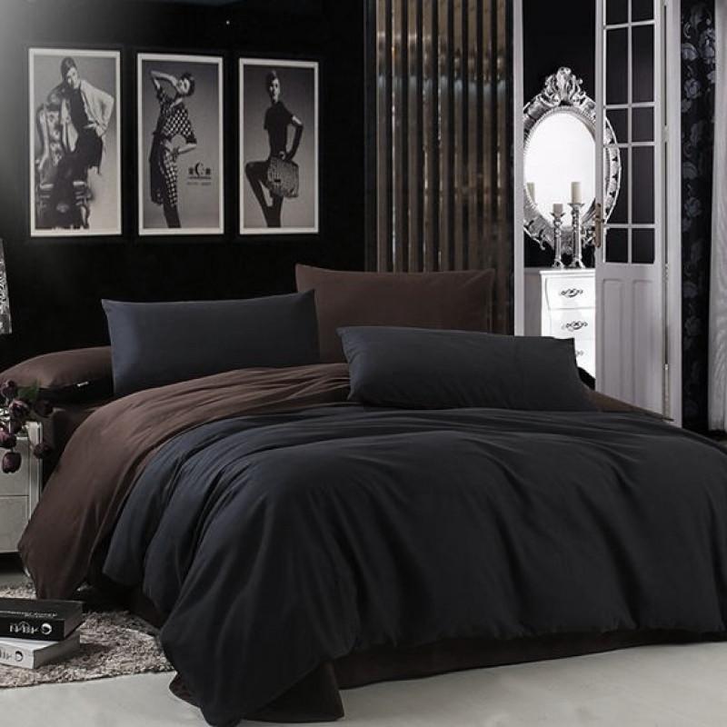 Постельное белье поплин DeLux Микс двусторонний Черный+ Шоколад ТМ Moonlight Полуторный