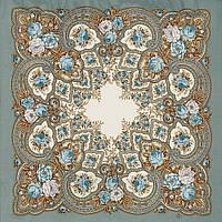 Янтарный вечер 1222-1, павлопосадский платок шерстяной с шерстяной бахромой, фото 1