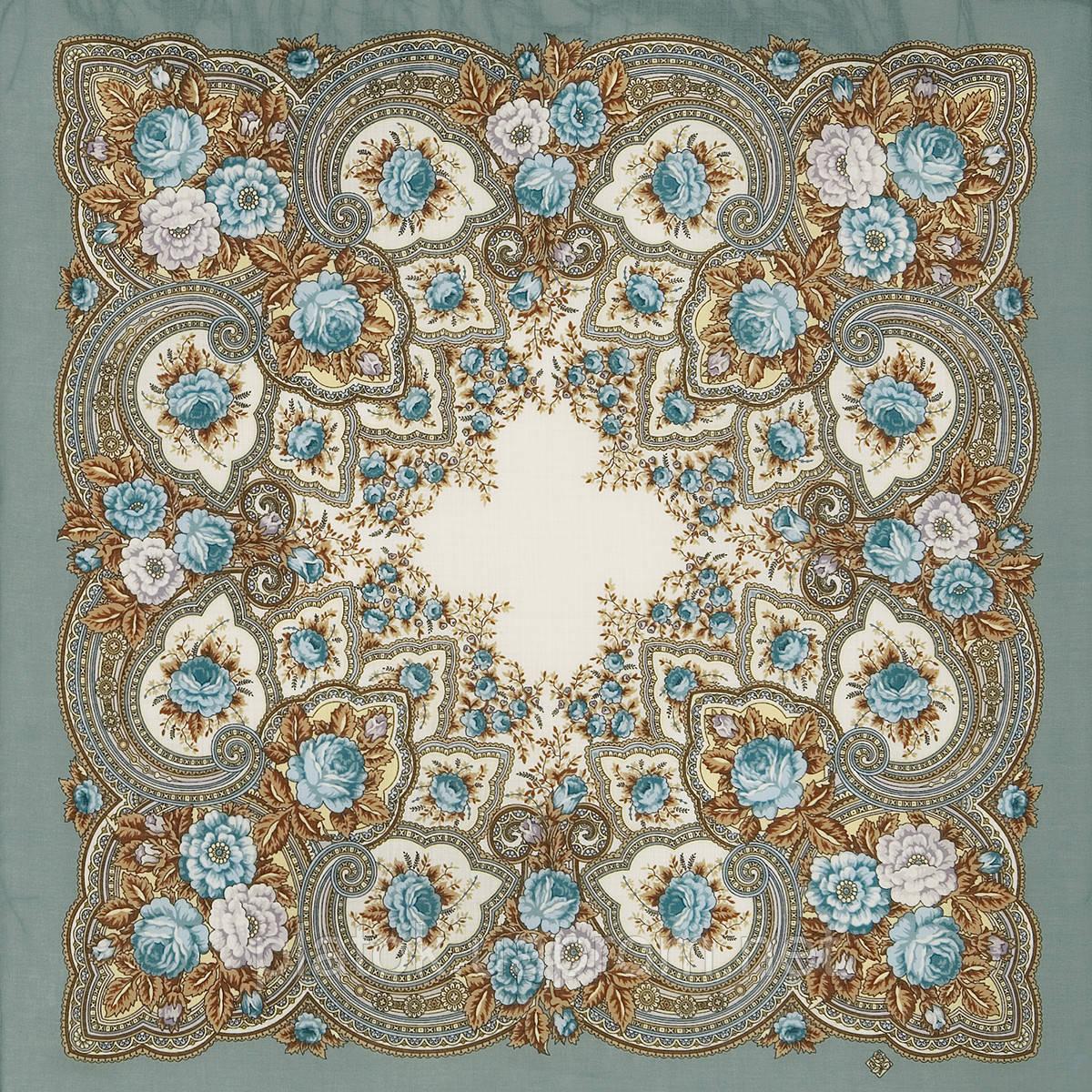 Янтарный вечер 1222-1, павлопосадский платок шерстяной с шерстяной бахромой