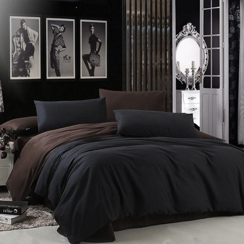 Постельное белье поплин DeLux Микс двусторонний Черный+ Шоколад ТМ Moonlight Евро макси