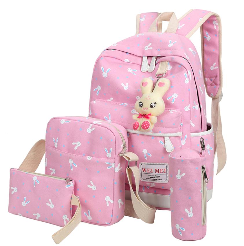 Набор Зайка Рюкзак 4 в 1 + брелочек зайка. Школьный городской нежно- розовый.
