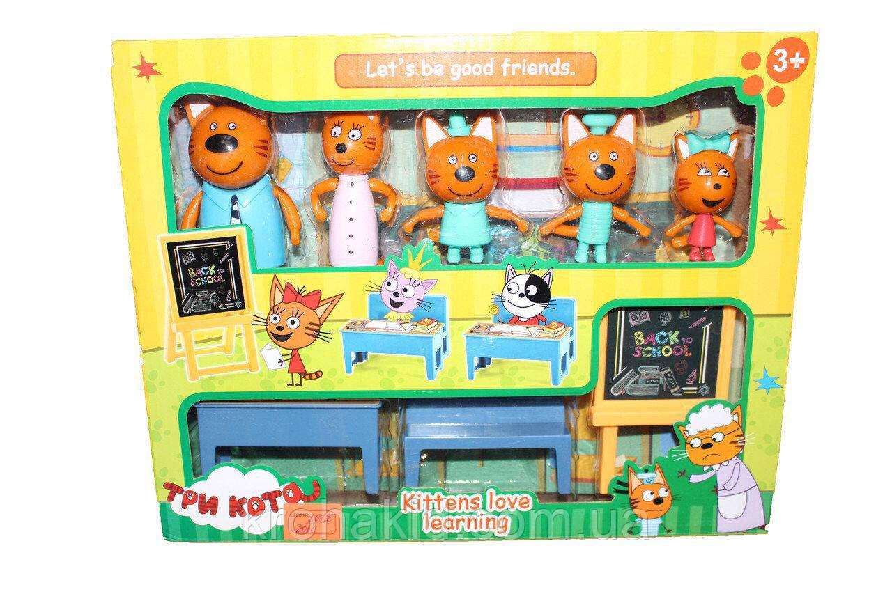 """Детский игровой набор """"Три кота"""" В школе / 5 фигурок Семья """"Три кота"""" школа - М-8812"""