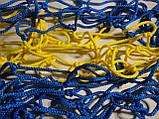 Сітка для футболу підвищеної міцності «ЕЛІТ» жовто-синя (комплект 2 шт), фото 2