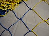 Сетка для футбола повышенной прочности «СТАНДАРТ ПЛЮС» желто-синяя (комплект 2 шт.), фото 6