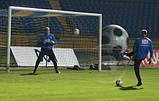 Сетка для футбола повышенной прочности «СТАНДАРТ ПЛЮС» желто-синяя (комплект 2 шт.), фото 3