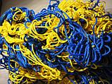 Сетка для футбола повышенной прочности «СТАНДАРТ ПЛЮС» желто-синяя (комплект 2 шт.), фото 4