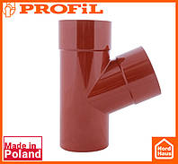 Водосточная пластиковая система PROFIL 90/75 (ПРОФИЛ ВОДОСТОК).Тройник редукционный Ø100/75/67º, кирпичный