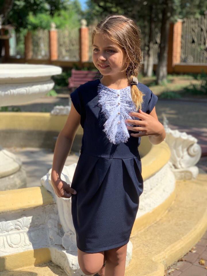 Сарафан-платье школьный с жабо синий и черный 122-134