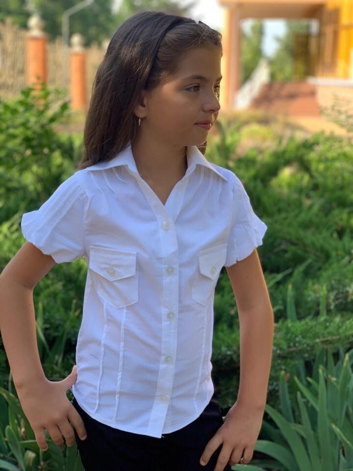 Блузка рубашка белая школьная для девочки короткий рукав