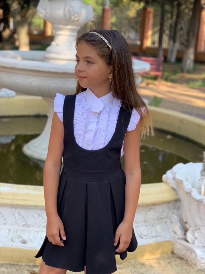 Сарафан школьный для девочки черный и синий.