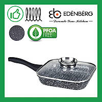 Сковорода гриль 28 смEdenberg из литого алюминия с крышкой и гранитным антипригарным покрытием(EB-3308)