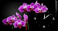 Настенные часы на холсте Декор Карпаты Орхидеи Черный/Фиолетовый (KFiz97661)