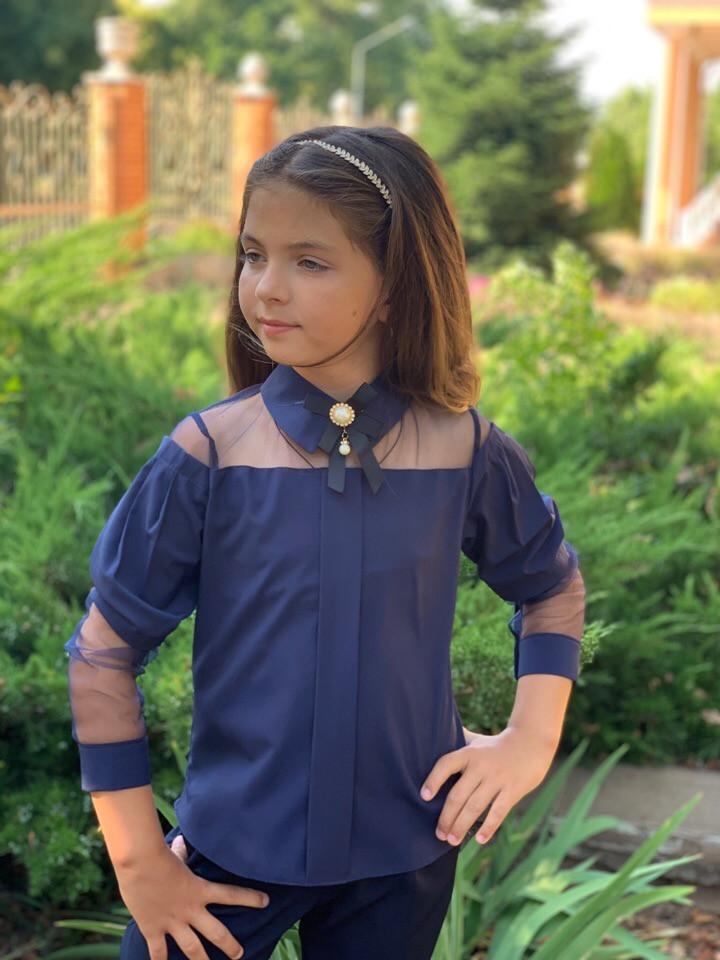 Блузка для девочки школьная длинный рукав белая и синяя рост 128,134,140,146 с сеткой